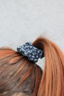 Blue and White Flower Scrunchie
