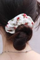 White and Red Floral Scrunchie
