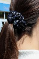 Navy Blue Floral Scrunchie