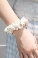 White and Pink Floral Scrunchie