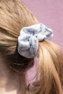 Blue And White Plaid Scrunchie