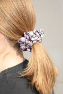 Purple And White Plaid Scrunchie