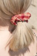 Red and Orange Plaid Scrunchie