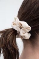 Tan Floral Eyelet Scrunchie