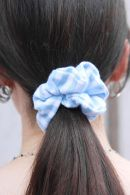 Blue And White Stripes Scrunchie