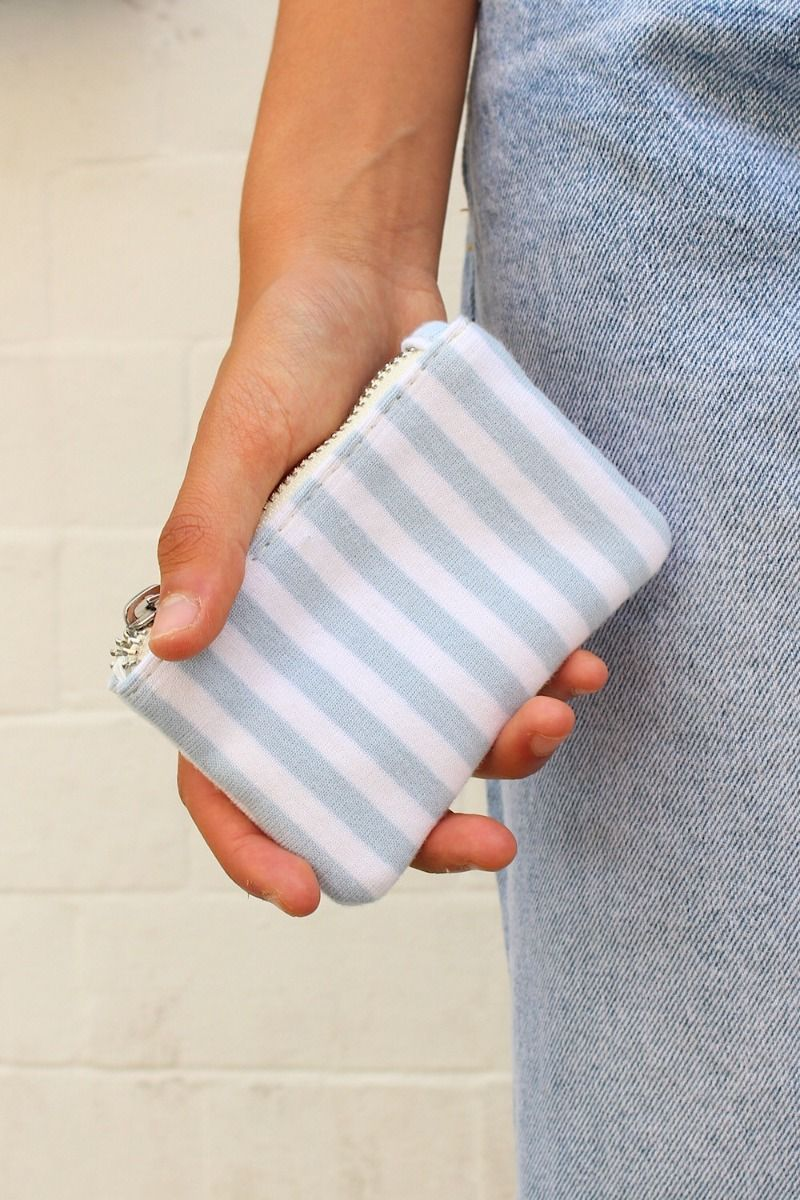 Light Blue and White Stripe Coin Purse