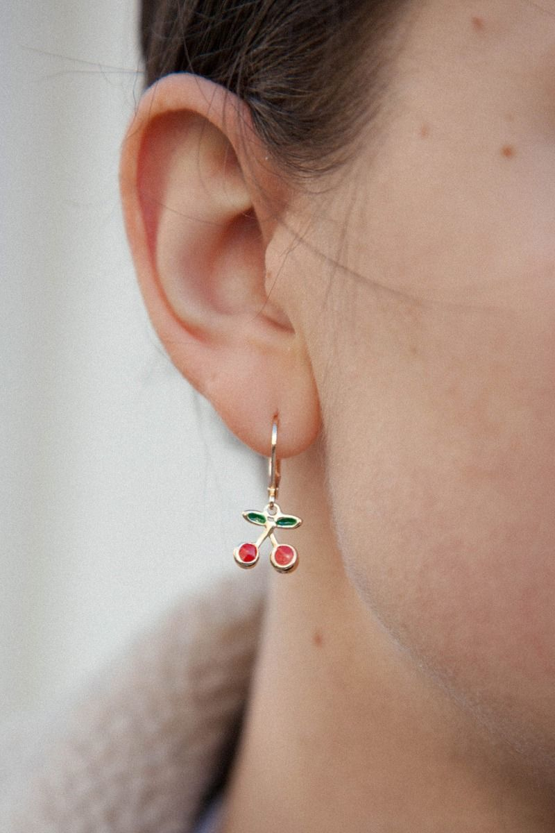 Gold Red Cherry Earrings