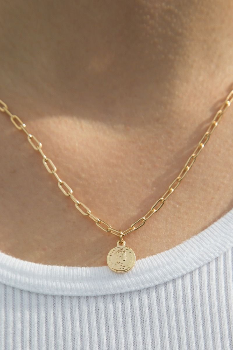Mini Gold Queen Coin Necklace