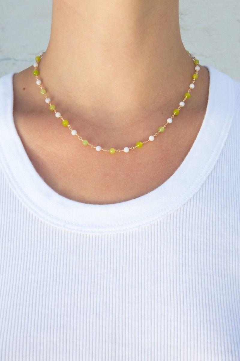 Gold Green and White Bead Choker