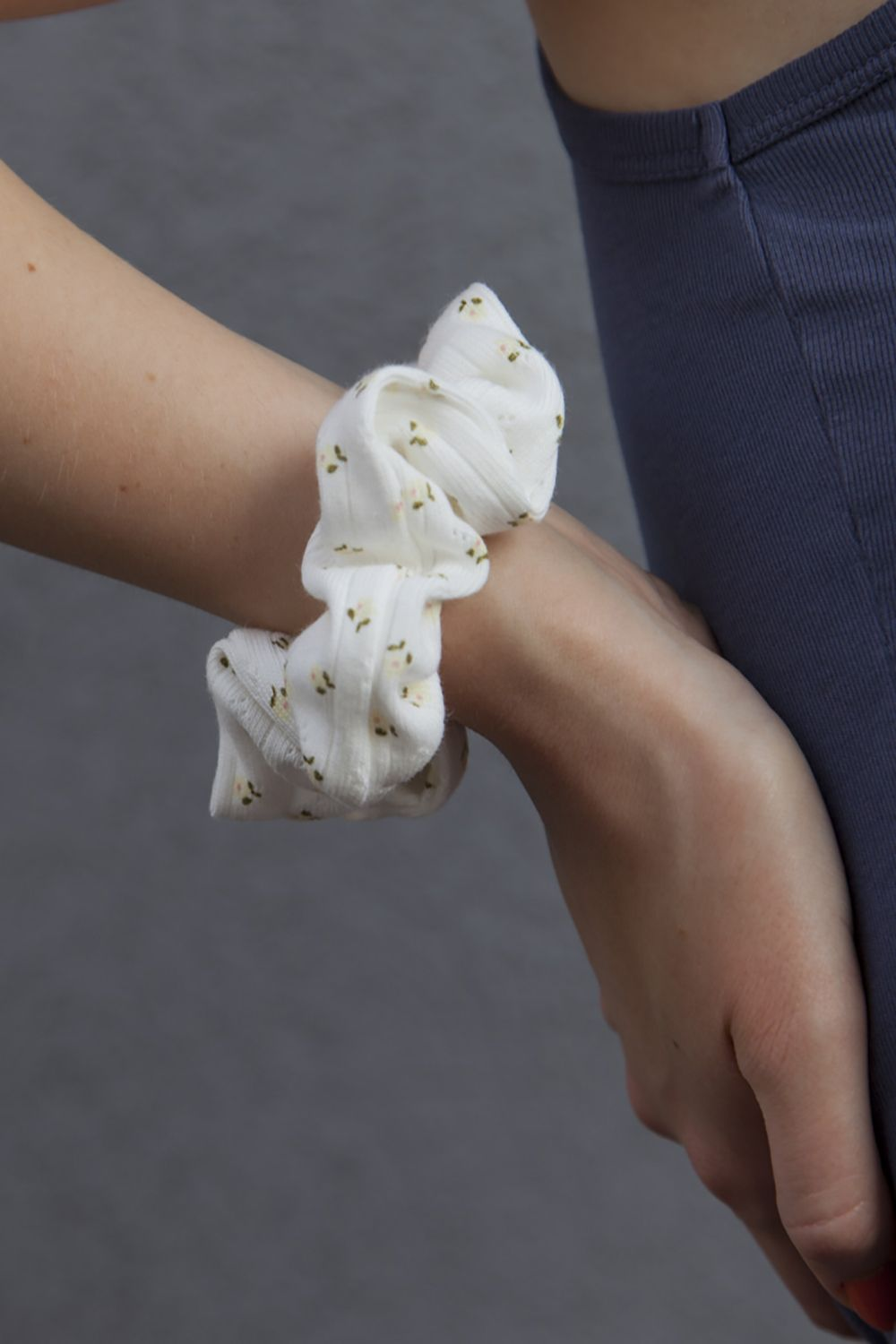 White and Yellow Floral Scrunchie
