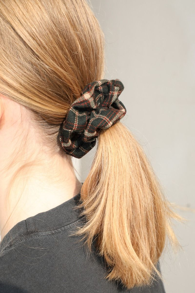 Green And Brown Plaid Scrunchie