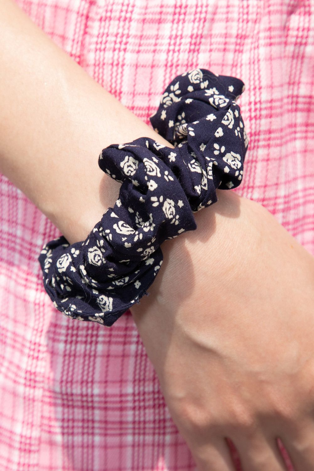 Navy Blue and Cream Floral Scrunchie