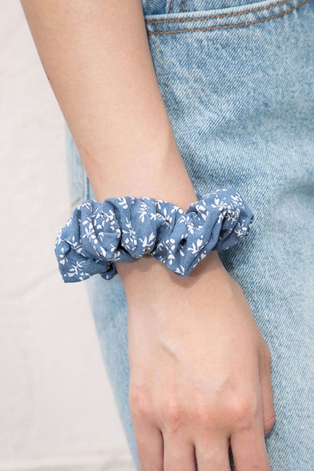 Blue and White Floral Scrunchie