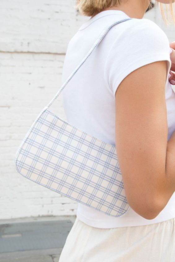 Blue and White Plaid Purse