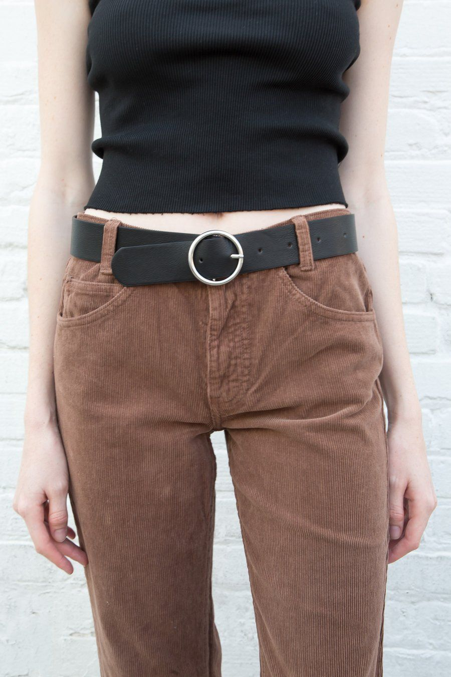 Black and Silver Circle Buckle Belt