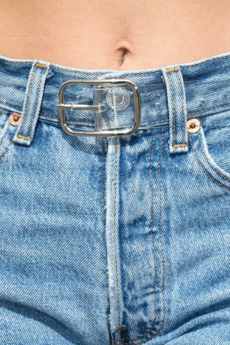 Clear and Silver Rectangle Buckle Belt