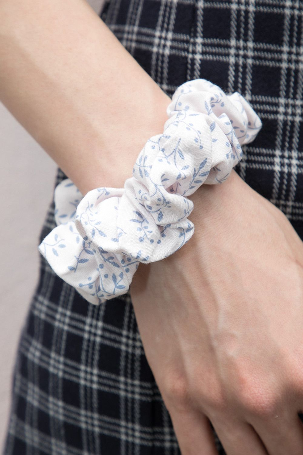 Light pink and Blue Floral Scrunchie